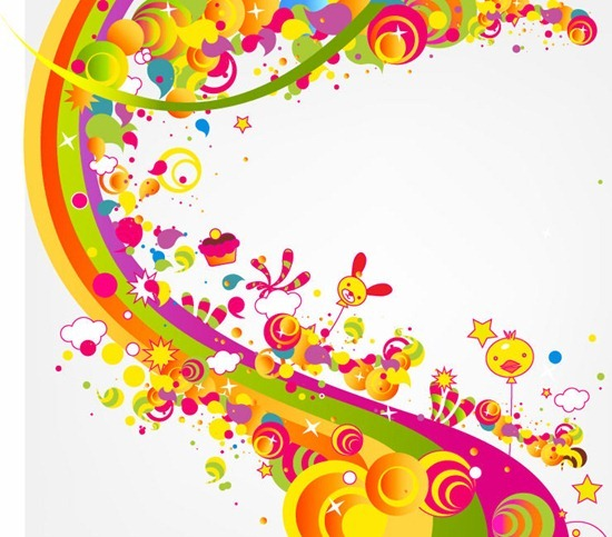 Abstract Happy Cute Rainbow Color Vector Illustration