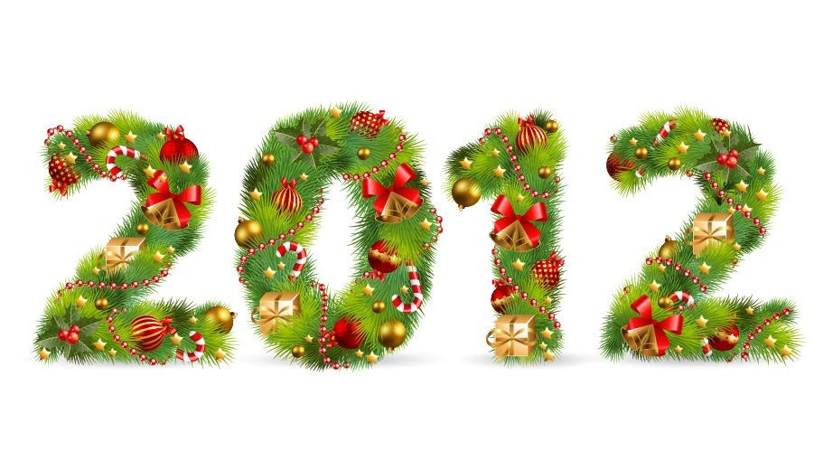 2012 Tree Font With Christmas Ornaments Element