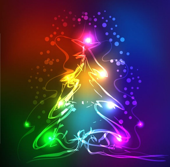Abstract Neon Christmas Tree Vector Graphic