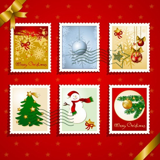 Christmas Stamps Vector Graphic