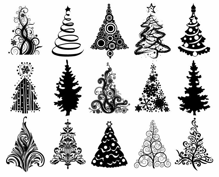 Set Of Christmas Trees Vector Graphic Free Vector Eps10