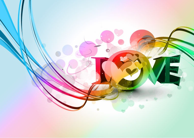 Valentine's Day Colorful Heart Design Abstract Background ...